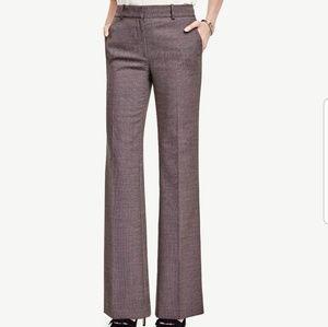 Ann Taylor Brown Birdseye High-Waist Trousers NWOT